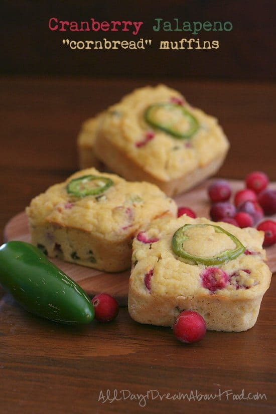 """Cranberry Jalapeno """"Cornbread"""" Muffins by All Day I Dream About Food   Image source: AllDayIDreamAboutFood.com"""