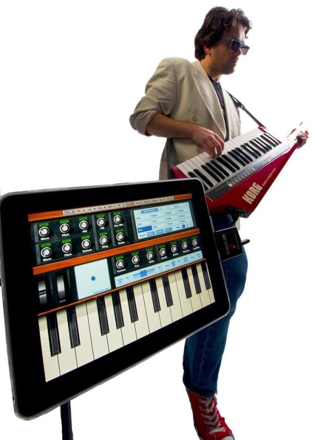 iPad with Line 6 MIDI Mobilizer and Korg RK100 keytar