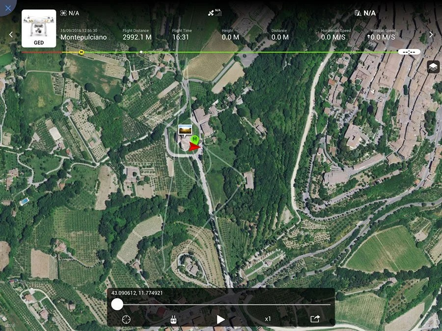 montepulciano San Biagio drone fly path