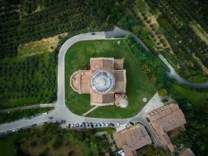 Aerial shot: The Church of San Biagio, Montepulciano