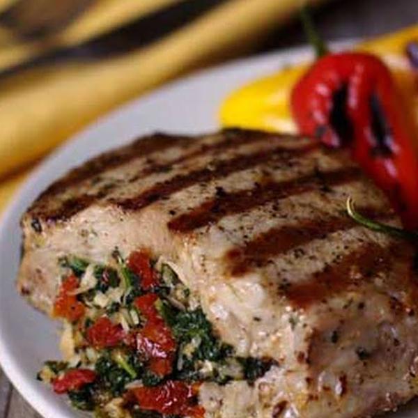 Holiday Italian Stuffed Boneless Pork Chop Dinner