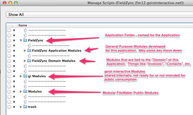 modular filemaker script organization