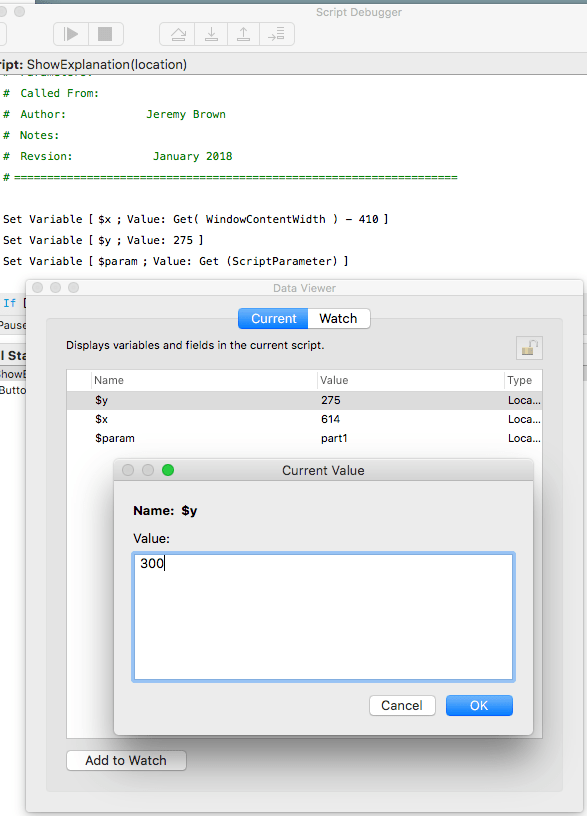 宣言された変数の値はデータビューア内で変更できる