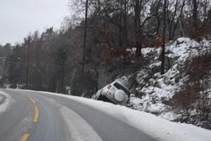 UTFOR: En bil har kjørt av veien på Tromøy på fv. 409. Foto: Esben Holm Eskelund