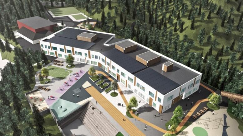 NY SKOLE: Den nye barne- og ungdomsskole sett fra luften fra sydvest. I bakkant Tromøyhallen. Illustrasjon: AEFK