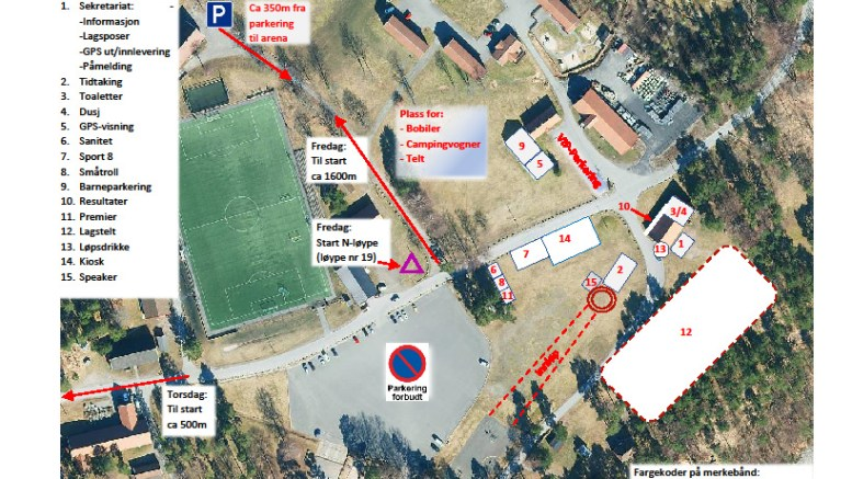 O-MEKKA: Hoveleiren blir fylt opp av orienteringsløpere fra torsdag. Kart: sg2018.no