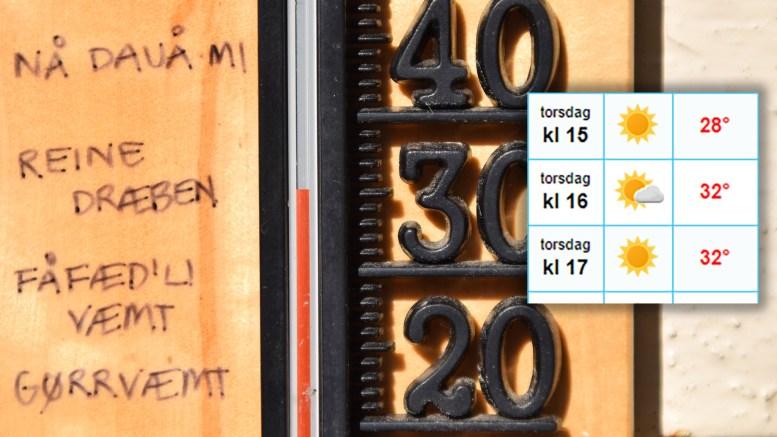 SUPERVARME: Torsdag kan temperaturen gå over 30 varmegrader. Foto/Montasje: Esben Holm Eskelund