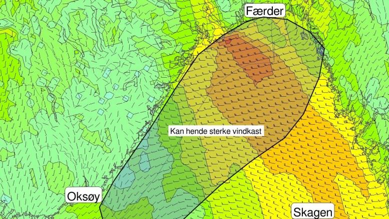 KRAFTIG VIND: Meteorologene advarer mot mulighet for kraftig vind, torden og intenst regn. Foto: @Meteorologene/Twitter
