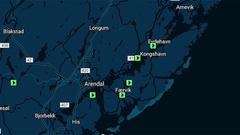 NEDLASTERE: Avisen viser hvor mange nedlastere som er oppdaget helt ned på små steder - også på Tromøy. Kart: skjermbilde Dagbladet.no