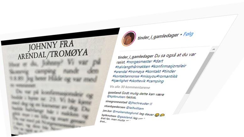 JOHNNY: En mildt sagt oppsiktsvekkende annonse, som er rundt 30 år gammel, har dukket på på Instagram. Foto: Tinder i gameldager/Instagram/Montasje
