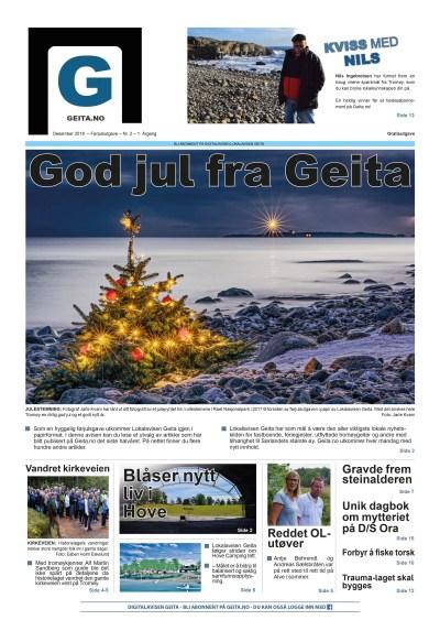 FØRJULSUTGAVE: Lokalavisen Geita i papir inneholder et utvalg av artikler skrevet og publisert på Geita.no fra i sommer og frem til høsten 2018. Til sammen har avisen publisert over 1.000 artikler om og for Tromøy det siste året.