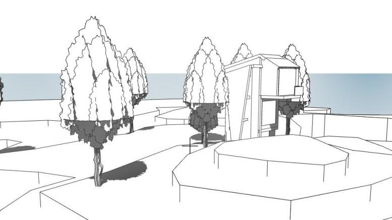 TRETOPPHYTTER: Slik kan tretopphytter ved Spornes ta seg ut i terrenget. Illustrasjon: Trafo Arkitektur
