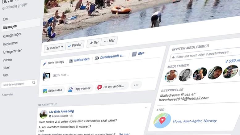 BEVAR HOVEODDEN: Facebook-gruppen «Bevar Hoveodden» er ganske tydelige i sine svar på en ikke-vitenskaplig undersøkelse om hva Hoveodden bør være i fremtiden. Foto: skjermbilde fra Facebook
