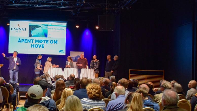 HOVEDEBATT: Det er mange stemmer i debatten om Hove. Her fra åpent møte i regi av Høyre. Illustrasjonsfoto