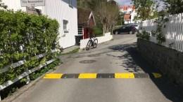 MIDLERTIDIGE FARTSDUMPER: Fartsdumpen på veien ut til bryggene på Revesand fungerer bra. Nå vil velforeningen ha flere slike, og ber kommunen fikse det. Foto: fra søknaden