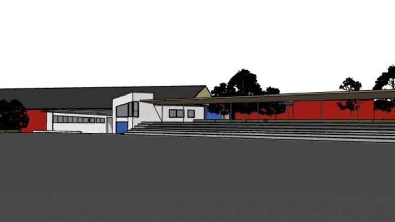 FOTBALLHALL: Slik kan en ny fotballhall på Hove bli seende ut, sett fra fotballen. Illustrasjon: Trafo Arkitektur