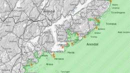 BÅLPLASSER: Kartet viser steder der det er registrert St.Hansbål. Det grønne området er Raet nasjonalpark. Kart: Raet nasjonalpark