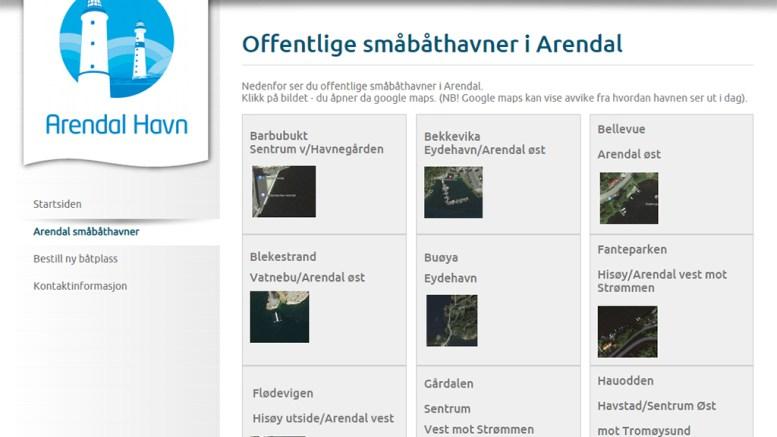 UTSETTER LEIE: Arendal havn KF utsetter innkreving av leie for båtplass. Foto: Skjermdump /Arendalhavn.no