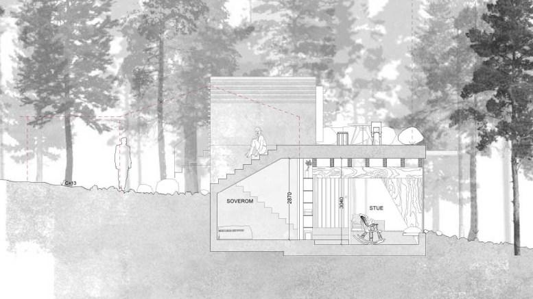 MODERNITET I RAET: Den slitne 1960-tallshytta i Raet nasjonalpark, søkes erstattet med en moderne hytte, litt forskjøvet fra det opprinnelige fotavtrykket på eiendommen. Illustrasjon: Gartnerfuglen Arkitekter AS