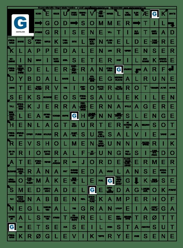 Kryssordløsning Lokalavisen Geita, sommerutgave 2021