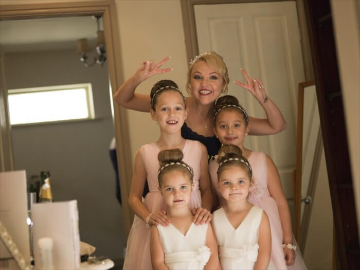 lovely picture of Lyndsay and her Flower girls