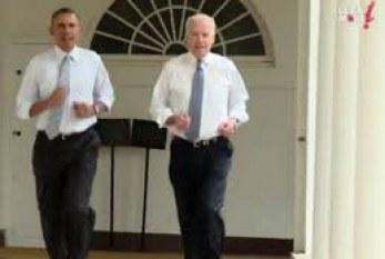 A primeira-dama põe Obama e Biden para correr