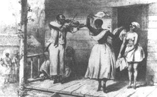 Um rabequeiro toca para duas jovens durante o período colonial (fonte: Biblioteca Nacional da Jamaica)