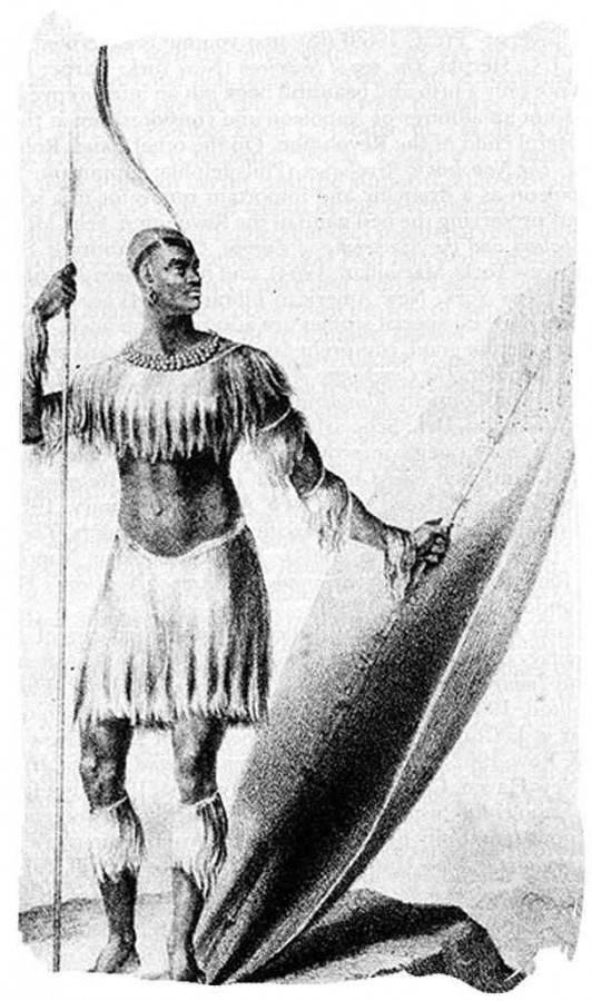 O único desenho conhecido do Rei Shaka de pé com sua lança assegai e seu pesado escudo datado de 1824, quatro anos antes de sua morte foi aclamado pelo povo Zulu com Rei Shaka Zulu