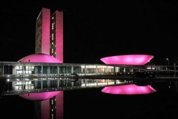 Câncer de mama: iluminação rosa sobre o Congresso marca mês de conscientização