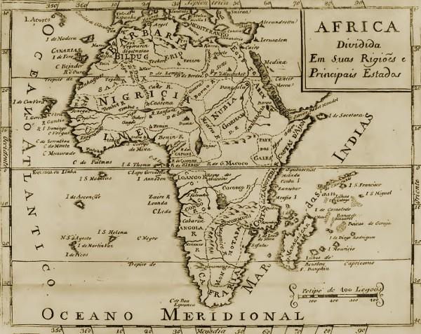 Africa dividida em suas regiões e principais Estados.