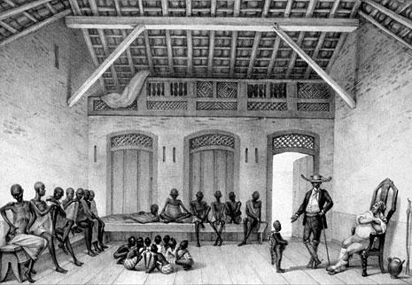 Mercado da Rua do Valongo, no Rio de Janeiro, onde escravos eram vendidos (quadro de J.B. Debret)