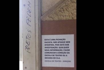 """""""Pretos Fedem"""" é o recadinho deixado na parede da UniRio"""