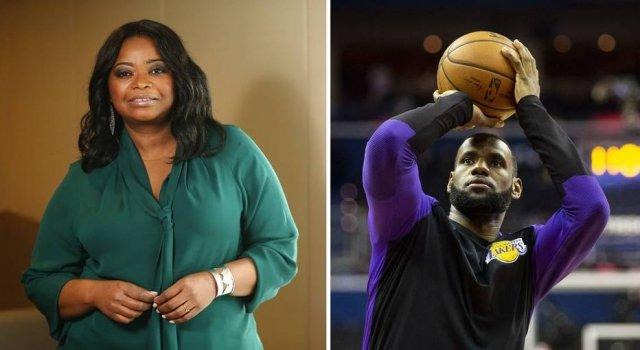 A atriz Octavia Spencer e o jogador de basquete LeBron James. Foto- Wilton Junior:Estadão : Al Drago:AP