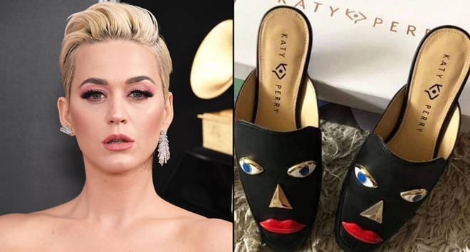 Katy Parry e sapatos pretos com olhos e bocas vermelhas