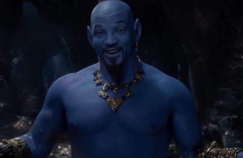Foto to ator Will Smith azul no papel do Gênio
