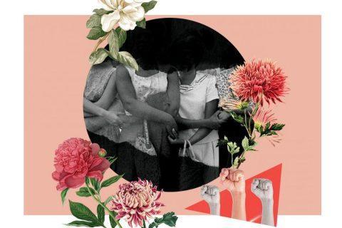 Imagem com mulheres de mãos dadas. (Ilustração de punhos serrados)