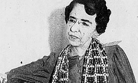 foto em preto e branco de Myrthes Gomes de Campos, mulher idosa branca