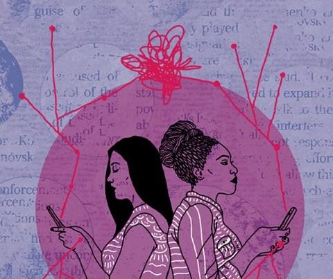 Ilustração de duas mulheres, uma virada de costas para outra, mexendo no celular.