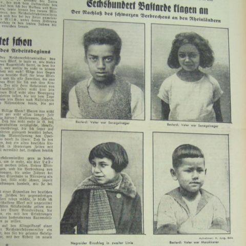 Manchete do jornal Frankfurter Volksblatt  que mostra imagens de crianças.