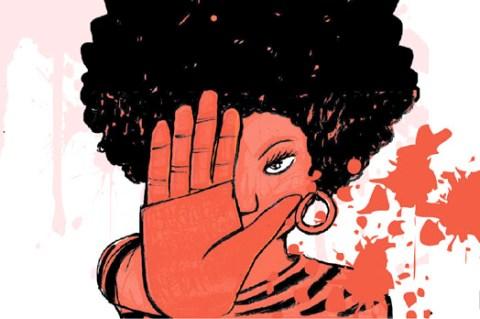 Ilustração de uma mulher negra, de black, com uma das mão estendidas fazenso o sinal de pare