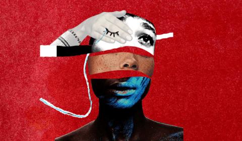 Capa de divulgação do projeto- vários recortes que formam um rosto