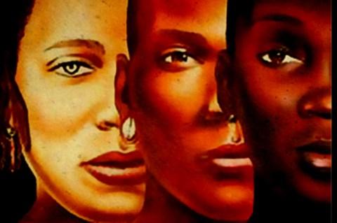 Pintura de  três mulheres negras de tonalidades diferentes