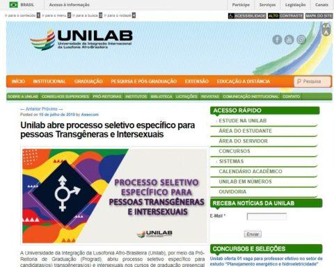 Print de tela do edital do processo seletivo para pessoas transgêneras e intersexuais