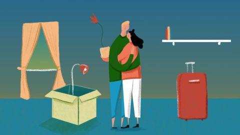 Ilustração de um casal abraçados em um comodo de uma casa, ao que parece eles estão de mudança