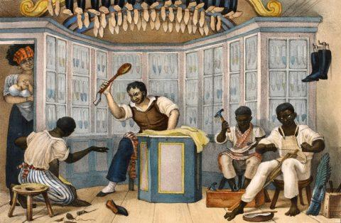 Ilustração de Jean-Baptiste Debret, onde mostra um sapateiro batendo na mão de um homem negro com uma colher de pal