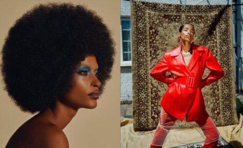 A modelo Ana Flavia, mulher negra de cabelo crespo, em uma sequencia de duas fotos