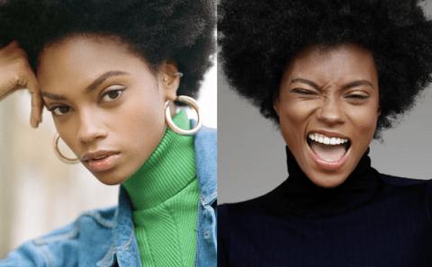 A modelo Elen Santiago, mulher negra de cabelo crespo, em uma sequencia de duas fotos