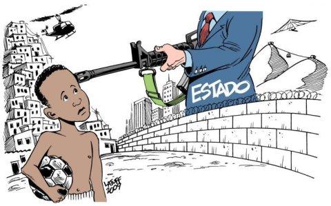 Ilustração de um menino na favela jogando bola, e um homem de terno segurando uma arma que aponta para a criança