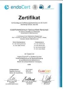 edndoCert Zertifikat Fabricius Klinik Remscheid