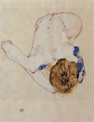 Nach vorn gebeugter weiblicher Akt - Poster, Gemälde & Kunstdrucke